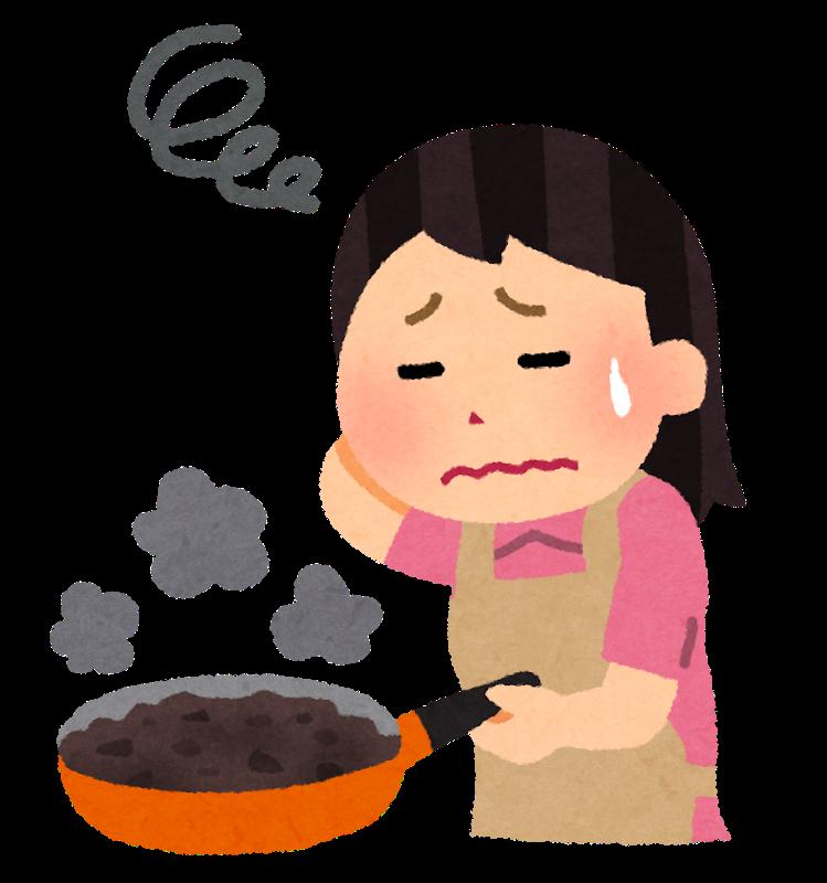 料理に失敗した女性